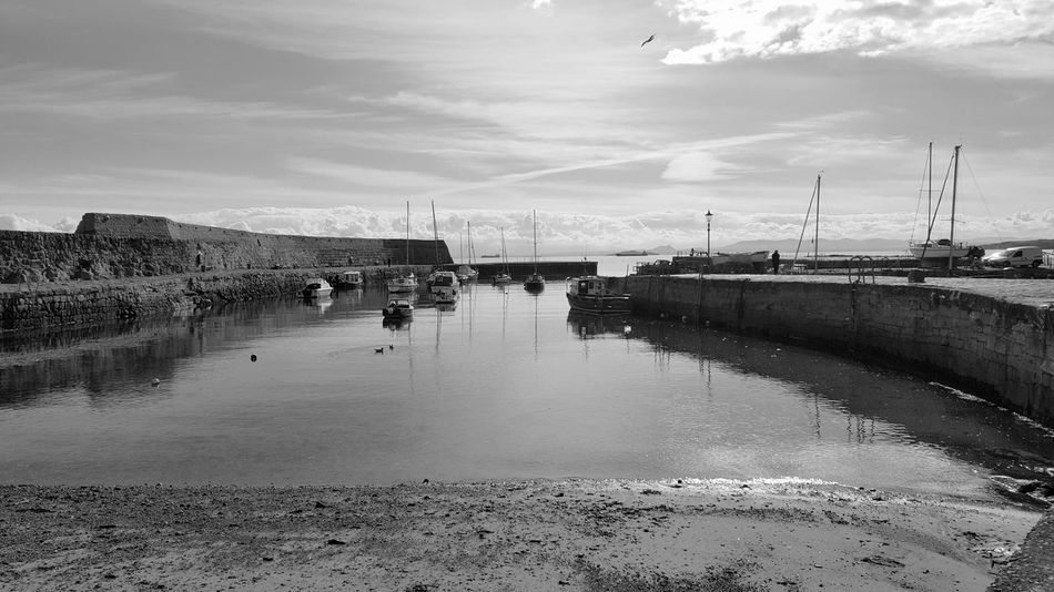 Dysart Harbour Water Reflection Beach Sea Sky Outdoors Cloud - Sky Day No People Black And White Photography Black And White Collection  Black And White Mobile Photography EyeEmNewHere Samsung Galaxy S6 Edge Mobile Phone Photography Visit Scotland Fife Scotland Harbour Boats Dysart Sea Wall Nautical Vessel Harbour View Maritime Photography