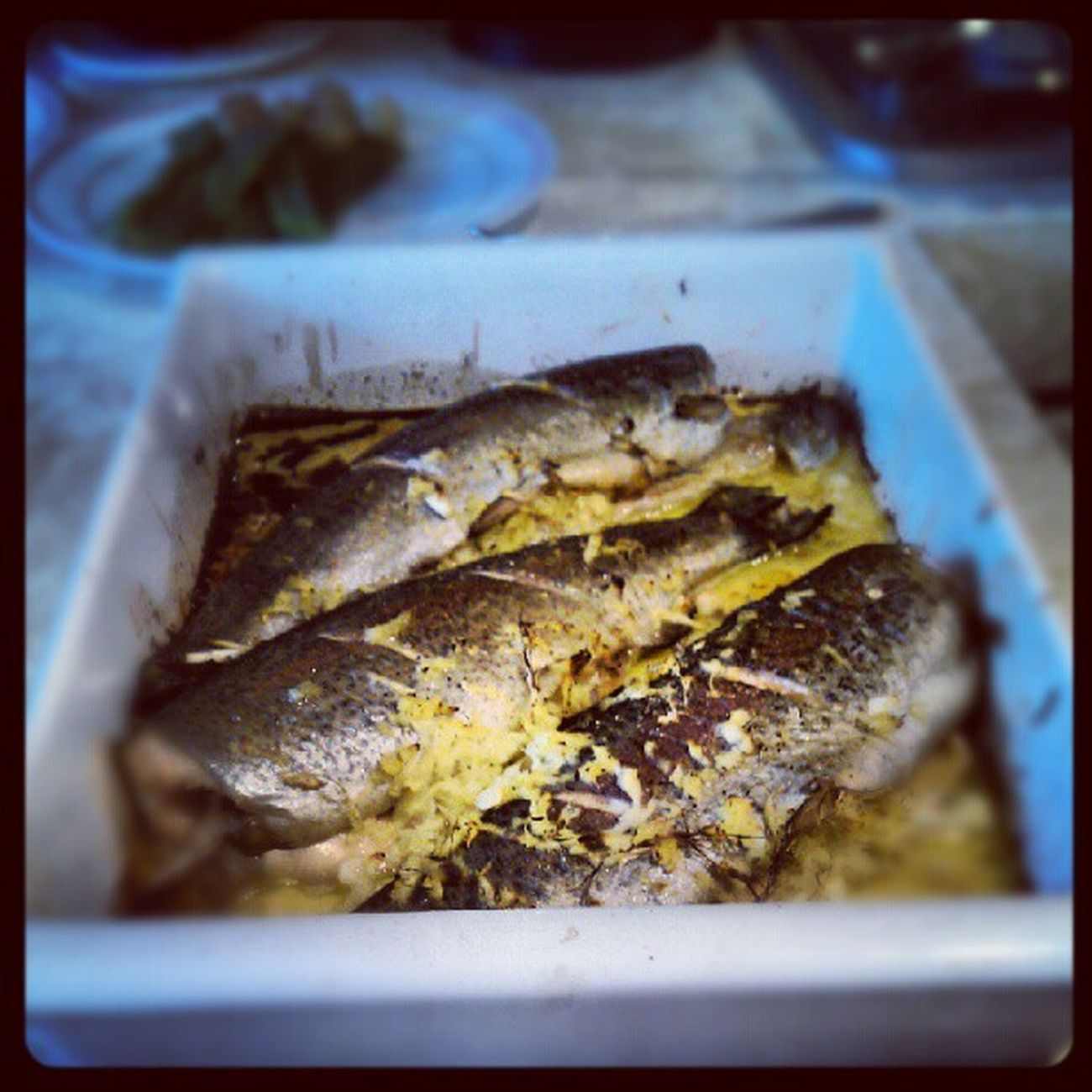 Baked Trout stuffed with Ginger and Springonions