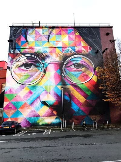 Most beautiful place in Bristol. KobraStreetArt Johnlennonwall Johnlennon Multi Colored Graffiti Street Art Built Structure Building Exterior Architecture Outdoors Sky No People