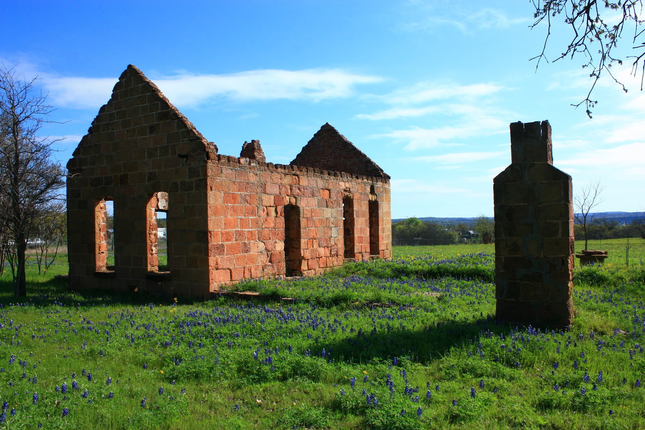 Abandoned Buildings Architecture Building Exterior Built Structure Cloud - Sky Day Field Grass History Nature No People Outdoors Ruins Architecture Sky Sunlight Texas Texas Hill Country Texas Landscape Texas Wildflowers The Past Tranquility Texas Bluebonnets
