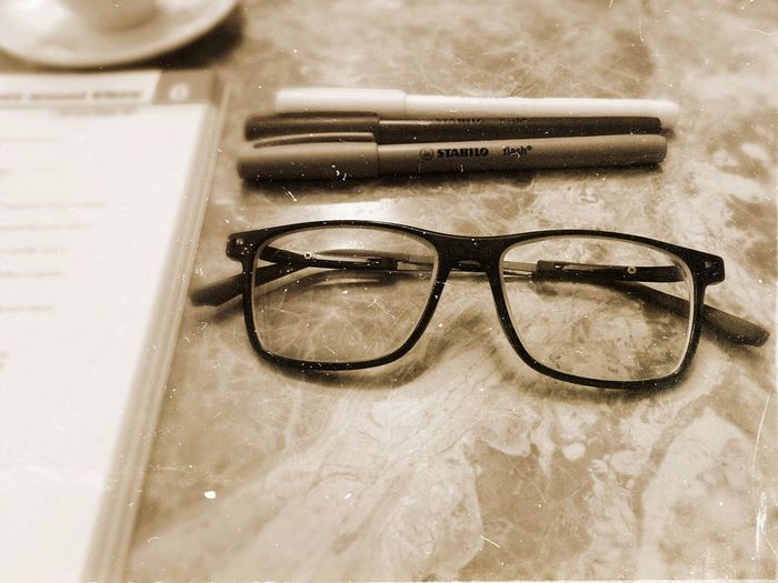 Glasses Pens Highlighters Black And White Old IPhone Literature EyeEmNewHere #Mine #no People Close-up Studying Medicine Table