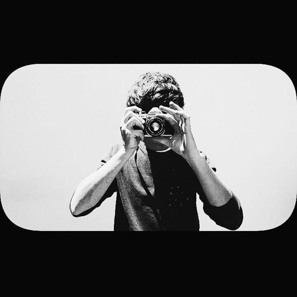 Photo of a photographer. Photography Pentax Vintage Vintage Camera Blackandwhite Man Taking Photo Black And White Black & White Lens Jannimasie Life Front View White Wall Shadows