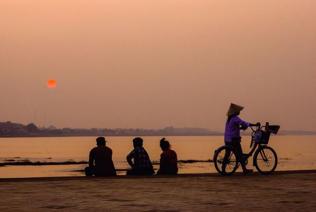 People And Places The Week On EyeEm Sunset_collection Laos Bicycle Silhouette Watching The Sunset Leisure Activity Lifestyles