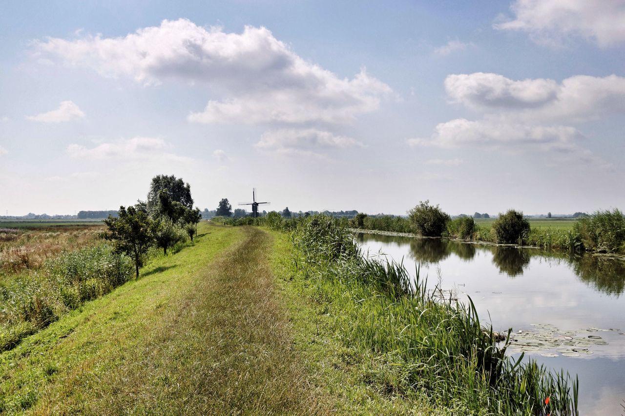 Dike Waterscape Windmill Dutch Landscape Dutch Countyside