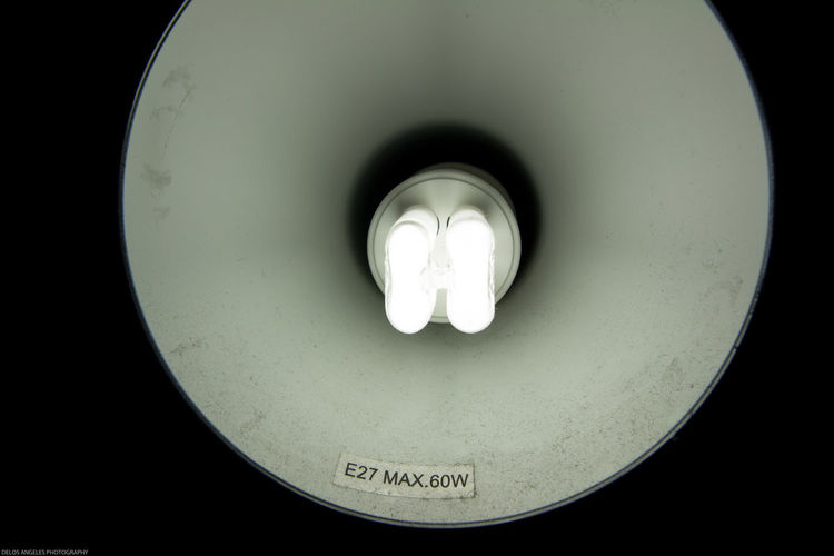 Up-close with the CFL bulb of a lampshade Close-up Compact Flourescent Light Indoors  Industrial Lamp Lampshade Light Source Lightbulb No People