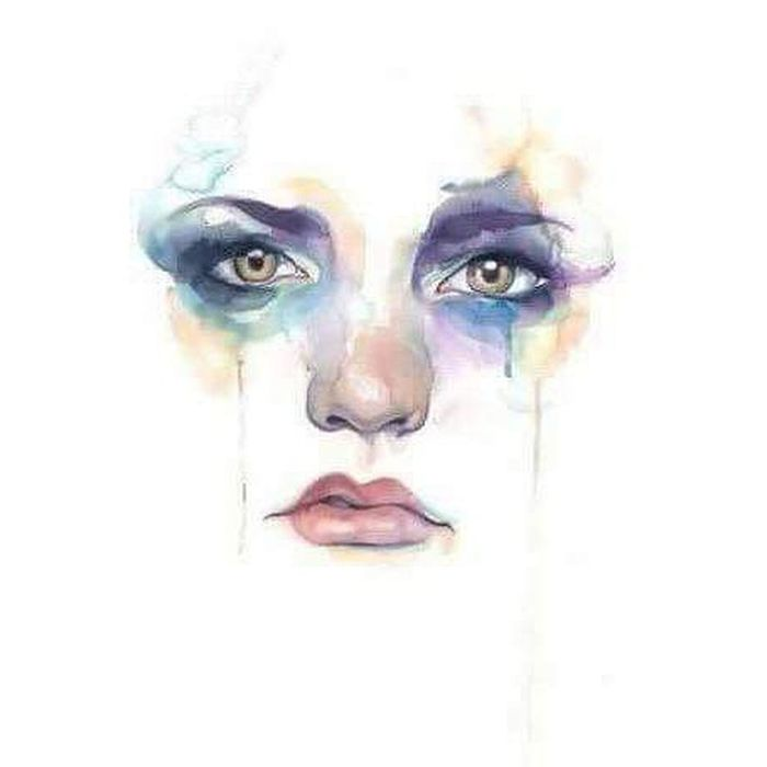 Lonely Human Face eyes Beauty Product Face Paint Fantasy Paint Human Body Part Smudged Performing Arts Event Women Make-up Performance Portrait Adult People Watercolor Painting Stage Make-up Young Adult Facial Mask - Beauty Product Resist
