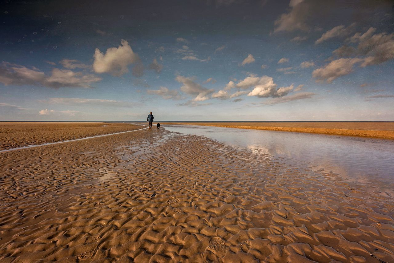 Ripples Sand Sky Cloud - Sky One Person Nature Beach Scenics Beauty In Nature Outdoors Tranquility Real People Tranquil Scene Water Desert Standing Day Sea Full Length Landscape Sand Dune Wells-next-the-Sea Norfolk North Norfolk Dog Walking Dog On The Beach