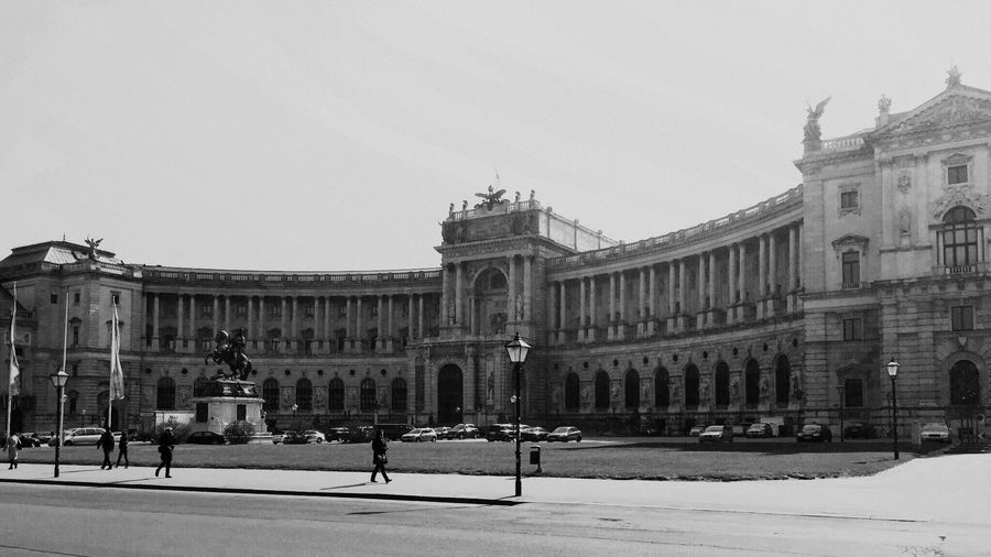 Architecture Building Exterior Built Structure Travel Destinations Travel Tourism History City Architectural Column Statue Sky Outdoors Clear Sky Sculpture Large Group Of People Day Real People Hofburg Hofburgpalace Hofburg, Vienna Vienna Vienna, Austria Blackandwhite Monochrome Bnw