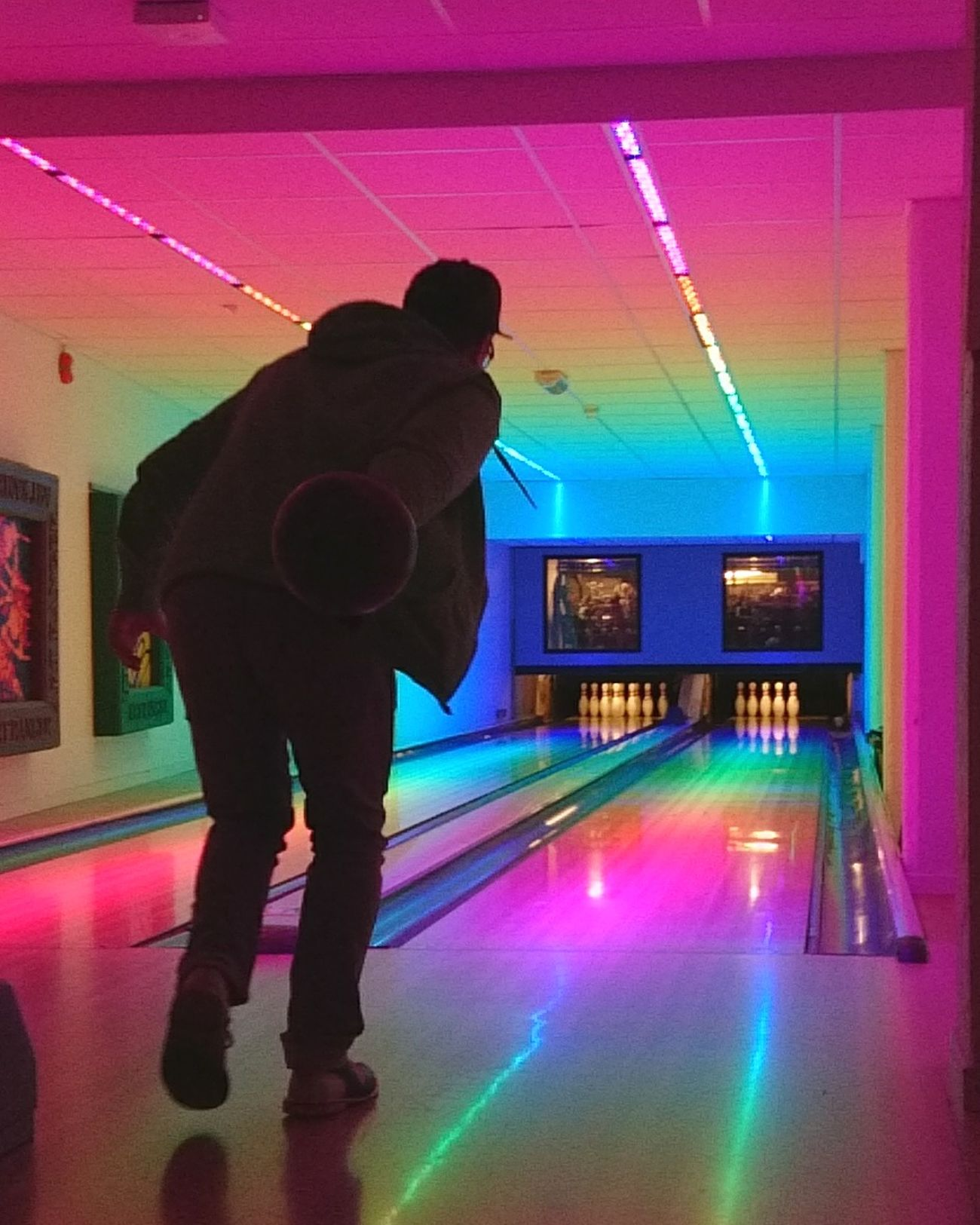 Leisure Activity Neon Performance Stage Light Enjoyment Fun Night One Person Full Length Bowling Bowling Alley Cosmic Bowling Colorful Colors Alley Ball