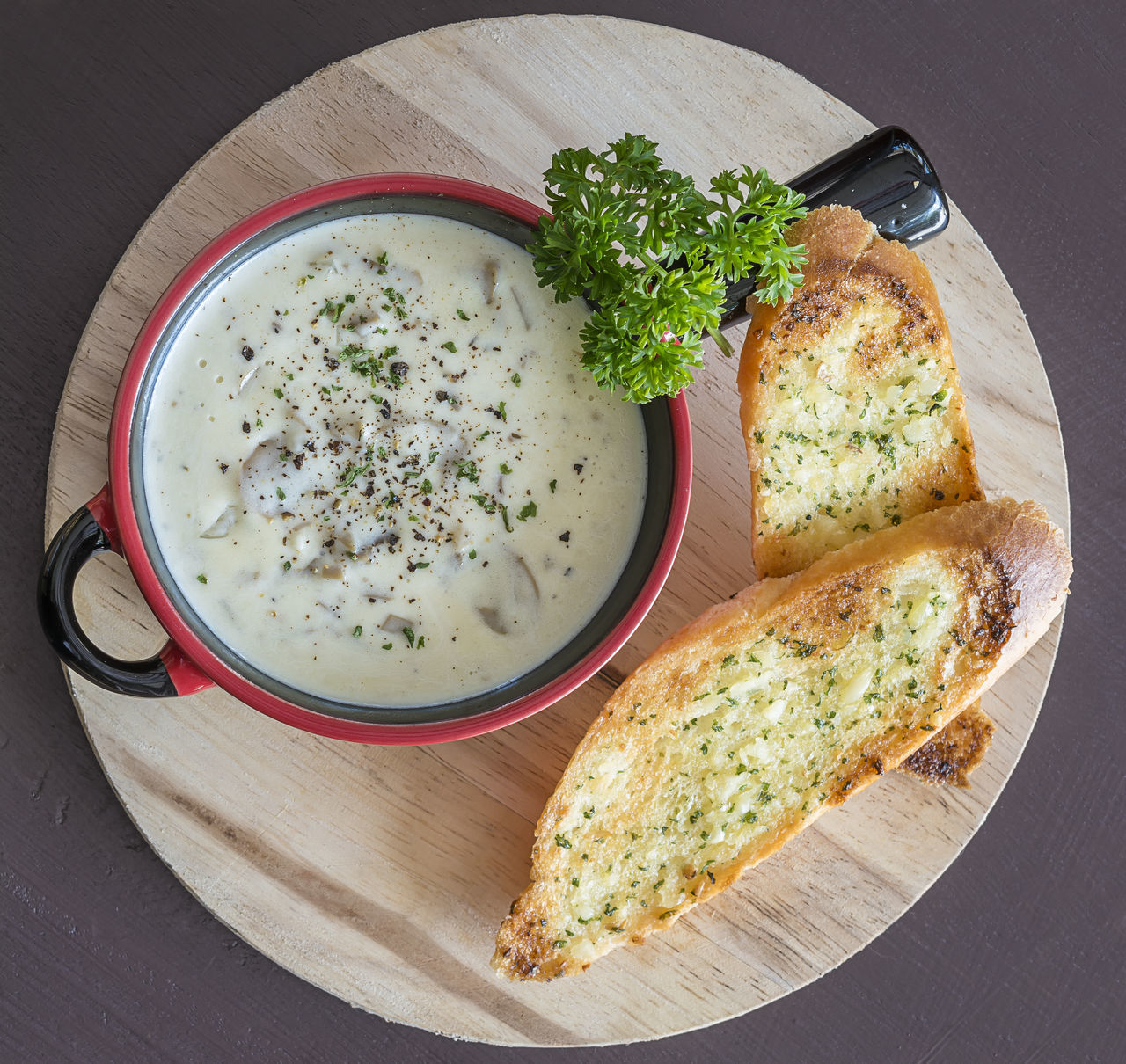 champignon cream soup serve with bread Baked Bread Champignon Cream Food Food And Drink Healthy Eating Mushrooms Soup Toasted Bread