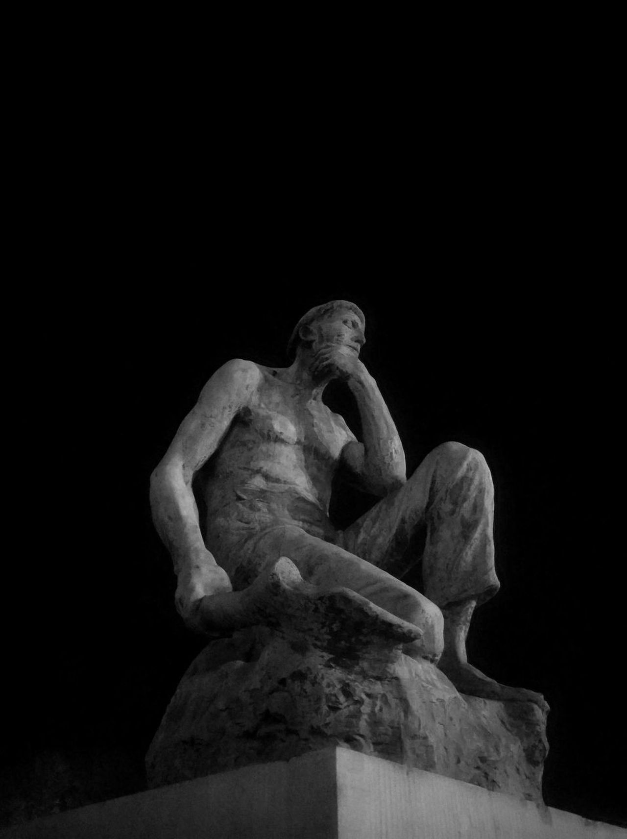 Statue Boudouin Charleroi BE Black & White Black And White Photography Black Background Boudouin Low Angle View Memorial Monument Night Night Photography Nightshot No People Representing Sculpture Statue