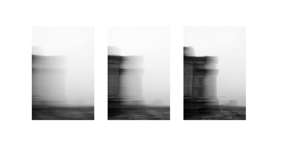 Triptyque - Brussels disappearing in the fog Black & White Black And White Blackandwhite Blackandwhite Photography Blur Blurred Motion Brussel Brussels Bruxelles Fog Foggy No People Triptych Triptyque White Background First Eyeem Photo