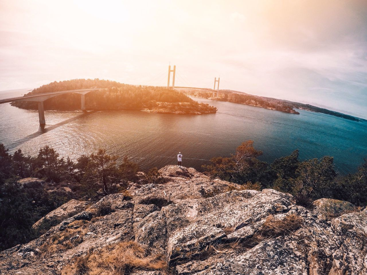 Sea Water Nature Sky Lighthouse Rock - Object Scenics Architecture Outdoors Tranquility Built Structure Horizon Over Water Nautical Vessel Suspension Bridge Sunset Beauty In Nature Day Travel Destinations No People