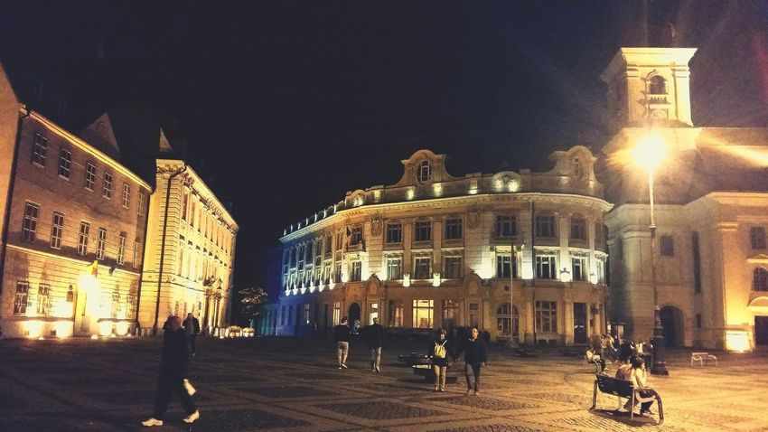 Night Architecture Built Structure Illuminated Building Exterior Tourism Travel Destinations Travel History Men City Vacations Outdoors Real People Large Group Of People People Only Men Adults Only Sky Adult Architecture Silhouette Sibiu, Romania Backgrounds Reflection