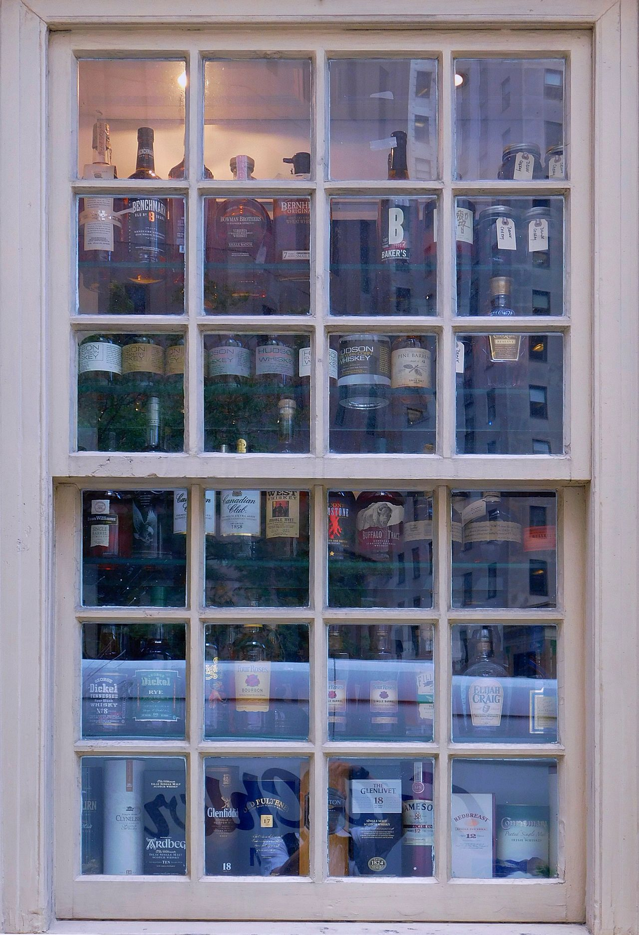 Grid. Day Drinks Grid Indoors  Manhattan No People Outdoors Pub Reflection Sash Window Whiskey Whiskey Collection Whisky Whisky Collection Whiskyfenster Whiskyporn White Window Finding New Frontiers