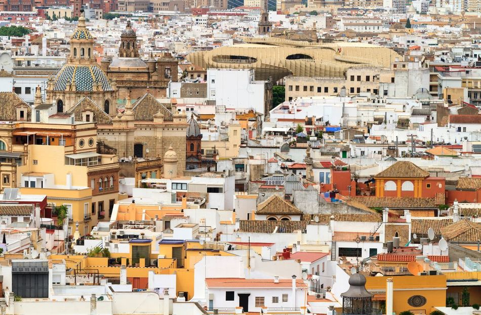 Summer in Seville Architecture High Angle View Cityscape Building Exterior City Outdoors Day Levitation Residential Building No People Sky Spanish Living Buildings Home Sweet Home Buildingstyles Architecture City Life Cityscape Sevilla Seville SPAIN View Architecture_collection Home