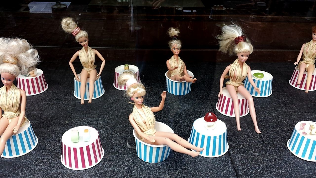 memory of childhood ;) Shopwindow Forever Young Barbies Clones Same Same But Different Golden Long Hair Long Legs Funpic Teenager Teenage Girls Striped Togetherness People Girls Indoors  Young Women Day