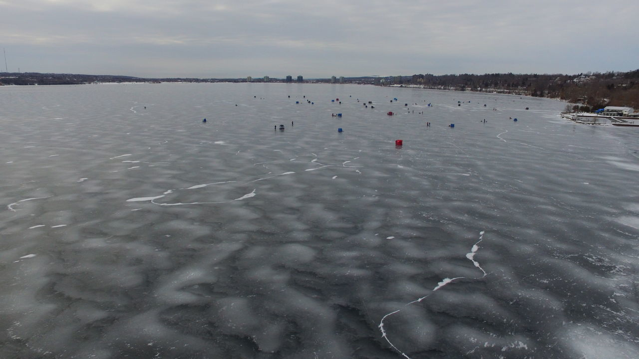 Aerial View Canadian Winter Drone  Dronephotography Frozen Lake Ice Fishing Ice Fishing Huts Winter Action Winter Activity