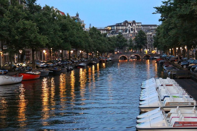 Evening stroll along the Amsredam canals. Amsterdam Canal Evening Water Hidden Gems  Reflections Brick Buildings Taking Photos Idyllic Scenery Cityscapes Trees Netherlands Colour Of Life