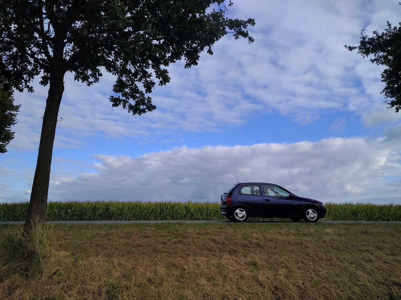 Blue Car Car Car Driving Cloud - Sky Landscape Nature Serenity Sky Solitude Trees