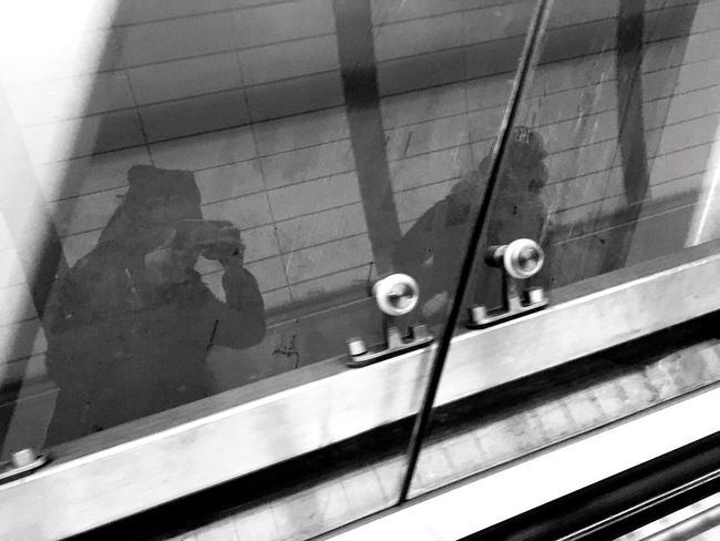 Blackandwhite Reflections Reflection Metro Nyc Transit Train Station Glass Hello World Hanging Out Life Of Pablo Escelator Another Step Taken In 2016 Enjoying Life Ultralight Beam February City Photography