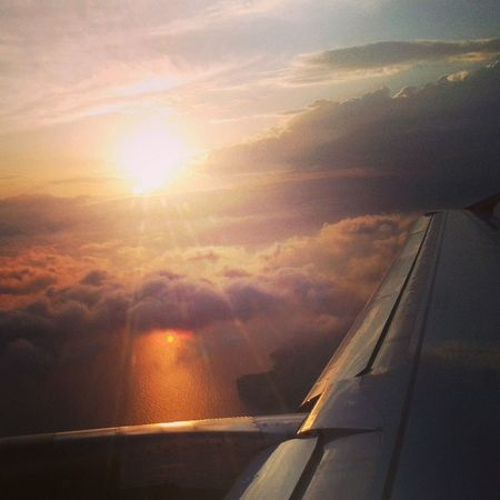 From An Airplane Window Sunshine Sunsset