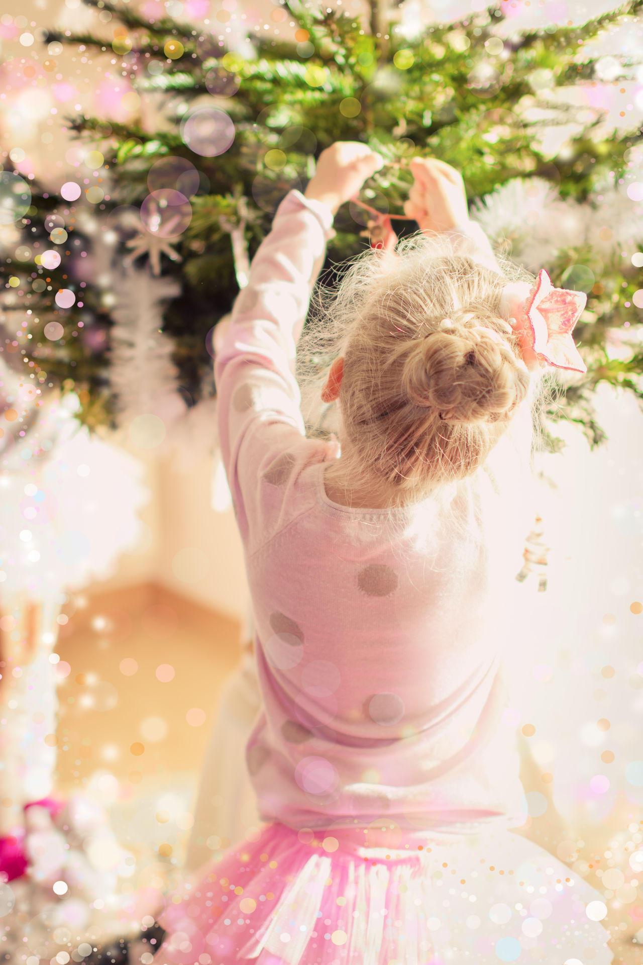 Ballerina Ballet Celebration Christmas Christmas Tree Cute Day Decorating Decoration Family Festive Girl Green Color Home Indoors  Little Girl One Girl Only One Person Pink Color Princess Rear View Sparkling Sunlight Tree Tutu