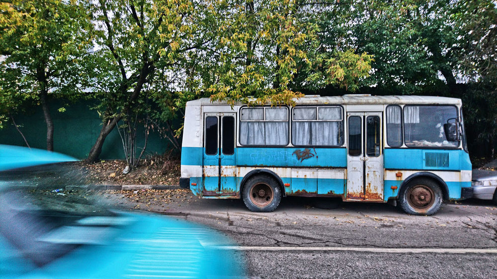 By The Roadside Old Bus Abgestellt Alter Rostiger Bus Composition Of Light Blue And Turquoise Day Mystic Old Bus No People Old Abandoned Bus Old Rusty Bus Road Surreal Old Bus Transportation