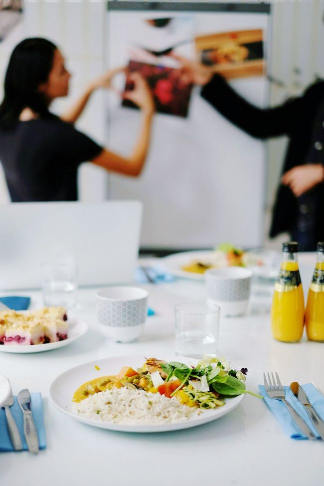 Food And Drink Food Plate Table Freshness Ready-to-eat Meal Teamwork Startup Place Of Work Business Office Technology Solution