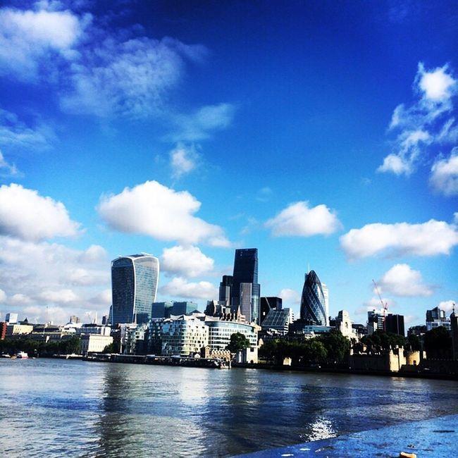 London Thames Thames River City Gherkin Tower Leadenhallbuilding Cheese Grater Sky Garden July Walking To Work Summer Sky