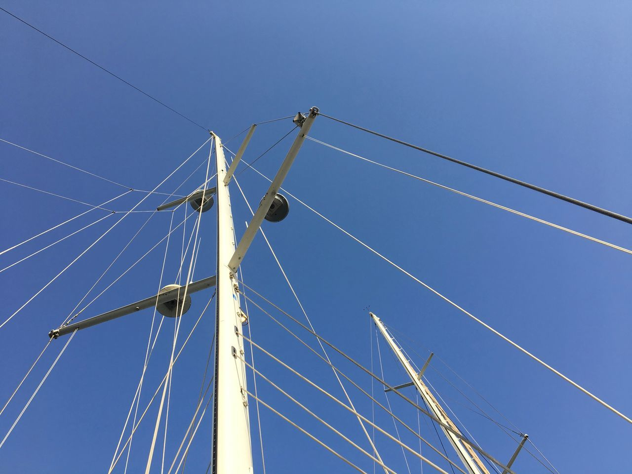 Blue Sky Boats⛵️ Clear Sky Day Lines Lines And Angles Looking Up Low Angle View No People Outdoors Sailing Sailing Boat Sailing Ship Sky