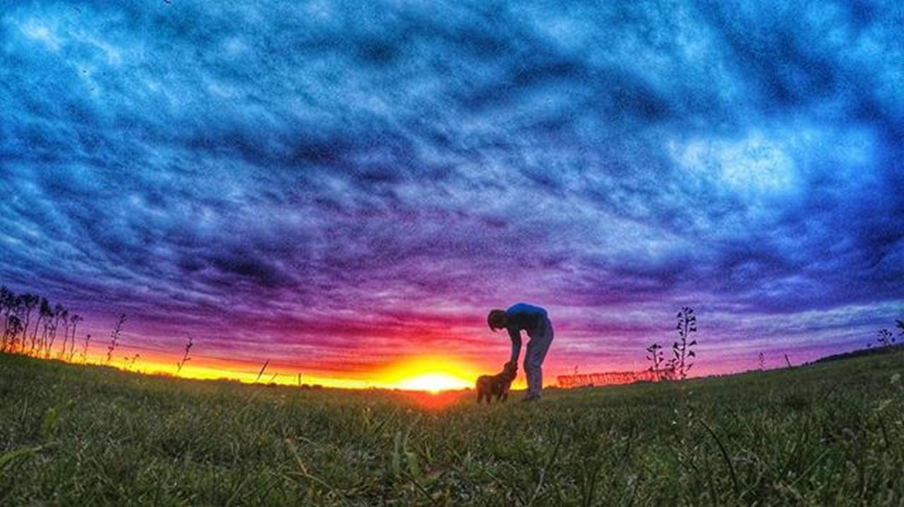 sunset, field, sky, nature, agriculture, grass, one person, cloud - sky, beauty in nature, landscape, outdoors, silhouette, real people, rural scene, scenics, men, standing, farmer, full length, one man only, working, only men, adult, adults only, people, day
