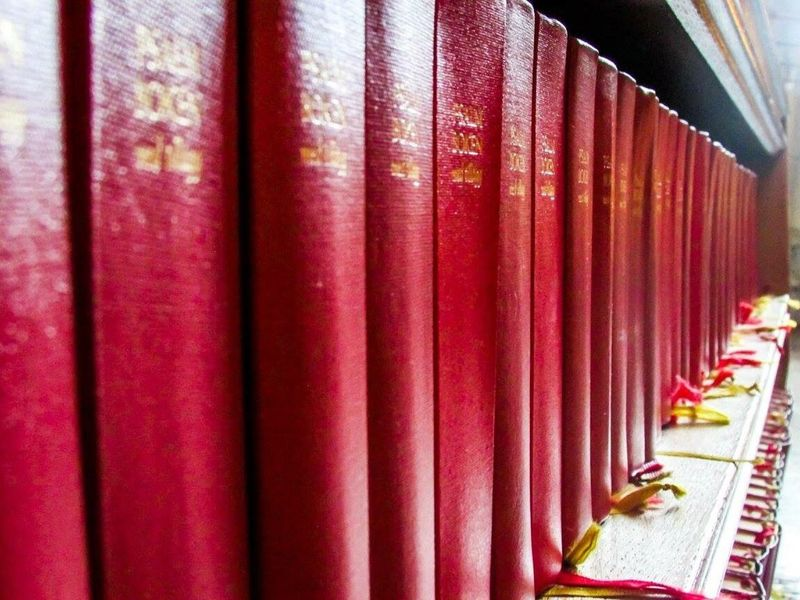 In A Row Book Indoors  Curtain Red Education No People Large Group Of Objects Day Bookshelf Literature Close-up Library Hymn Book