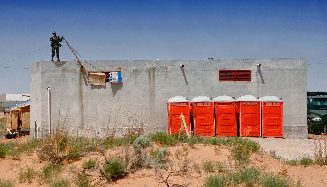 Mexican border Armed Border Border Guard Built Structure Desert Gun Mexico Police Portable Toilets