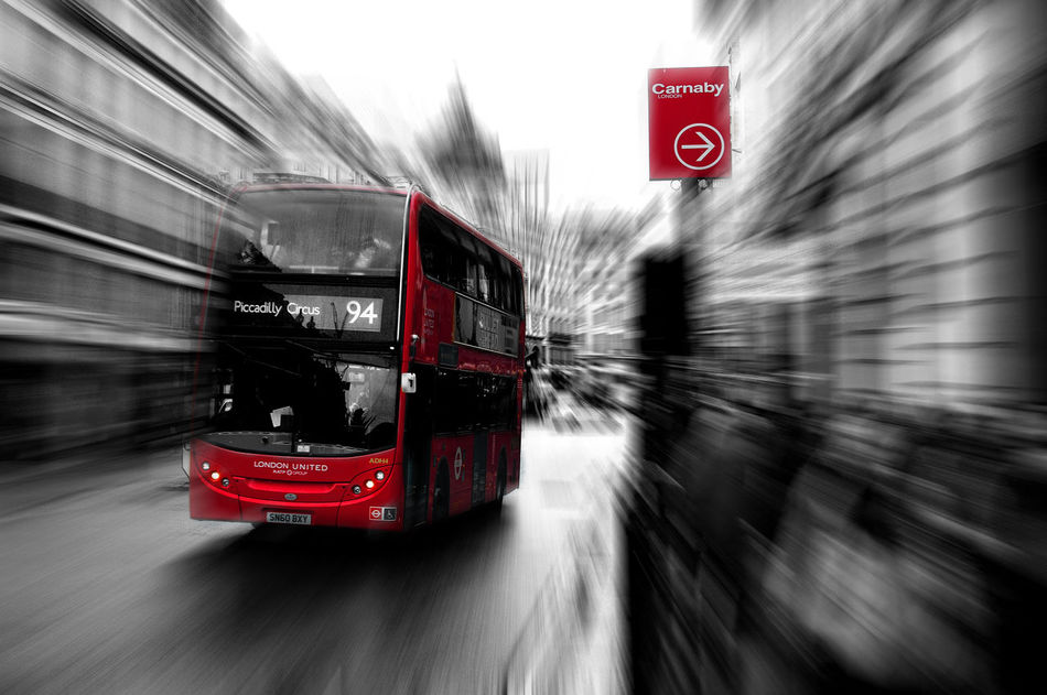Blurred Motion Carnaby Carnaby Street Double Decker Bus London London Bus No People On The Move Outdoors Road Speed