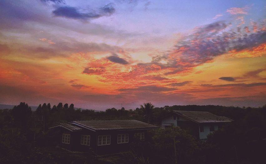 Sunrise over the village. Enjoying Life Thailand Sunrise Skyporn Mextures