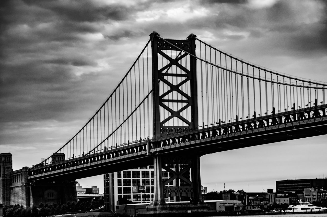 Architecture B&w Balck And White Ben Franklin Ben Franklin Bridge Bridge Bridge - Man Made Structure Building Exterior Built Structure City Cloud - Sky Connection Day Deleware Rive Engineering No People Outdoors Philadelphia Philly Sky Skyline Suspension Bridge Transportation Travel Travel Destinations