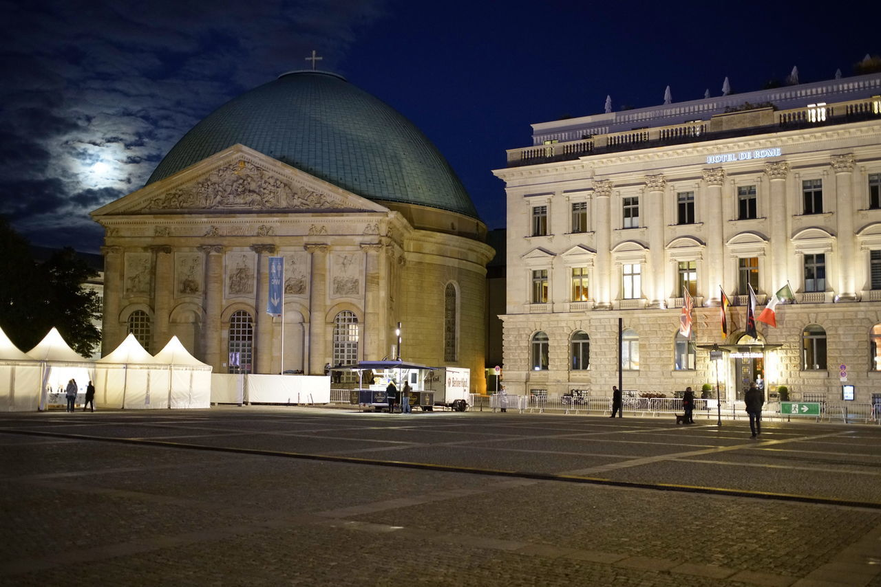 Bebelplatz Moon Night Lights Nightphotography Architectural Column Architecture Building Exterior Built Structure City Dome History Illuminated Night No People Outdoors Sky Travel Destinations