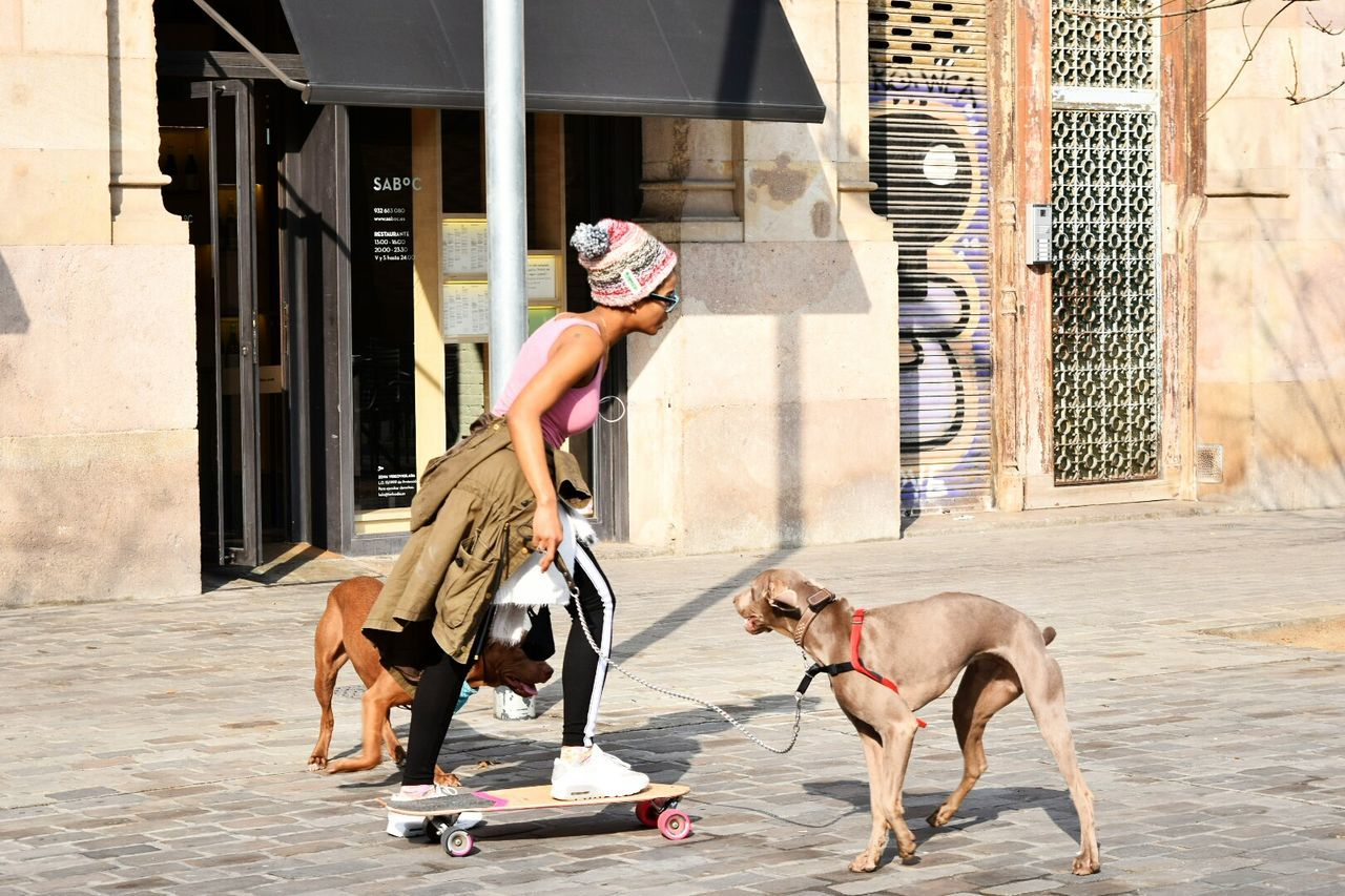 dog, outdoors, one person, building exterior, full length, pets, domestic animals, built structure, day, mammal, men, architecture, shirtless, one animal, real people, one man only, city, adult, only men, young adult, adults only, people
