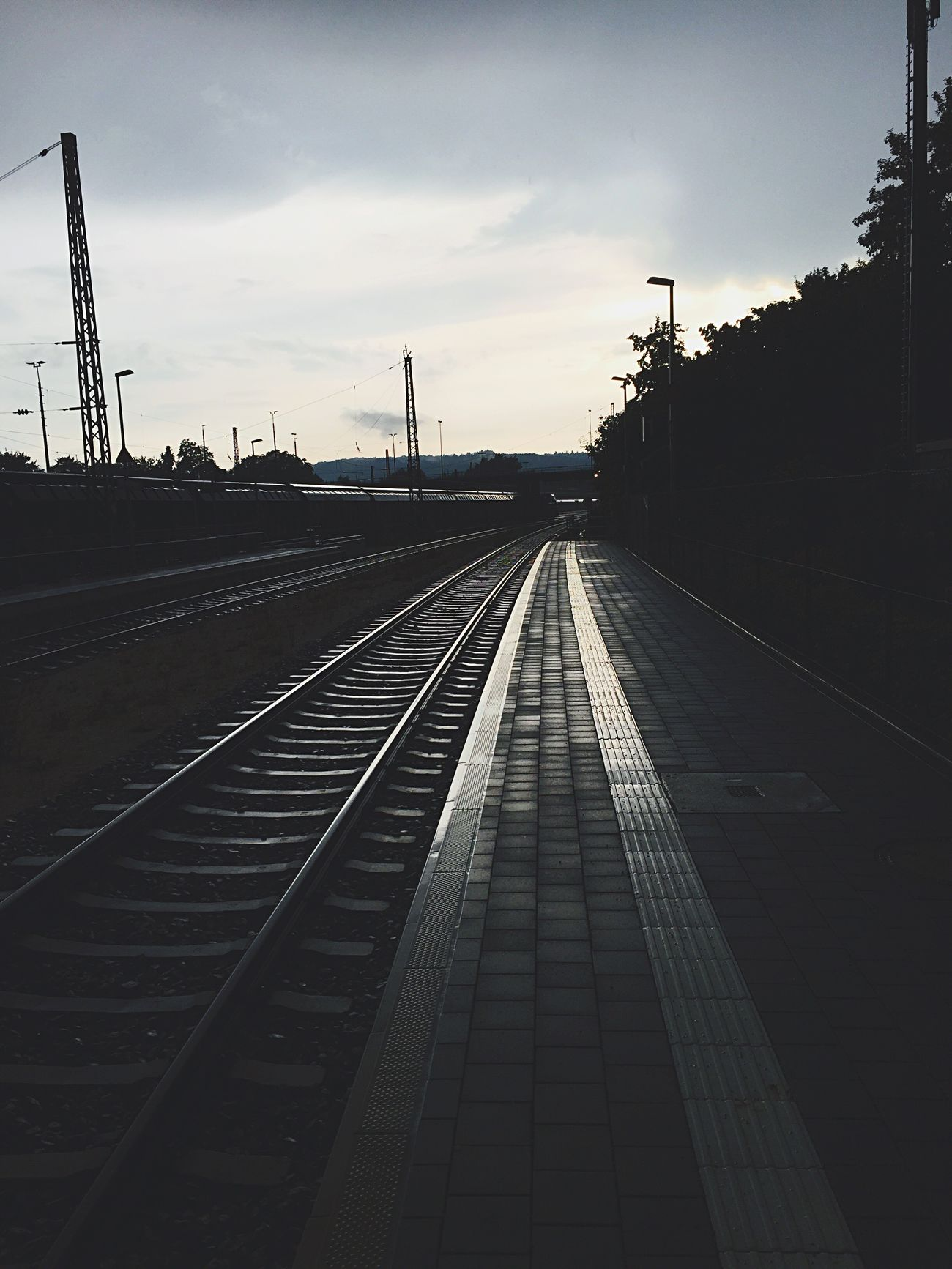 Grey Grey Sky Railroad Track Rail Transportation The Way Forward Outdoors Sky Train Station Darkness And Light Dark Monotone Simple Photography Simple Beauty Silence Simple Things In Life Minimalism Minimalistic