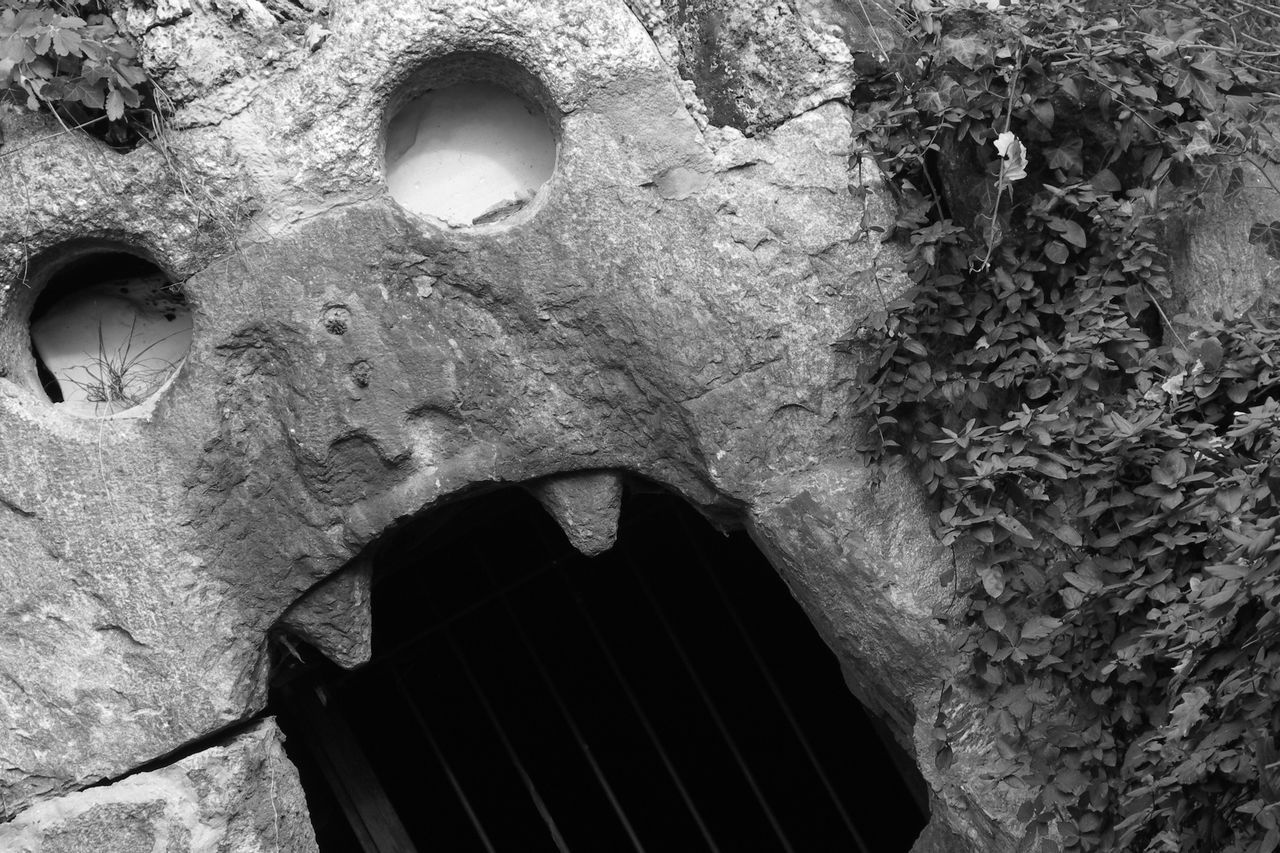 Spirited away Damaged Eroded Monochrome Mystery Old Ruin Open Mouth Rock Rough Scary Sculpture Stone Stone Wall Wall