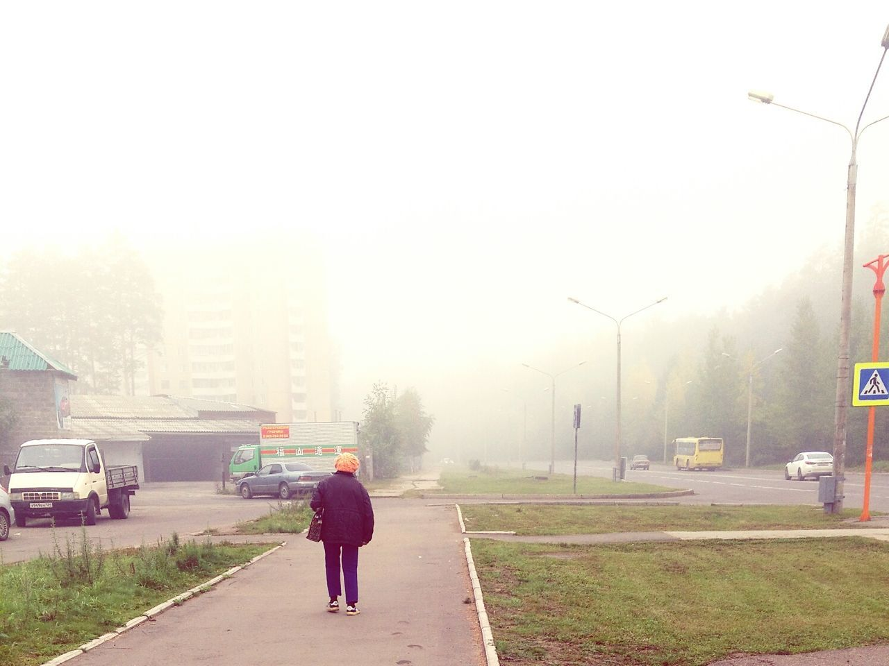 fog, rear view, transportation, road, full length, foggy, real people, one person, senior adult, walking, outdoors, nature, land vehicle, the way forward, day, tree, built structure, men, architecture, building exterior, sky, people