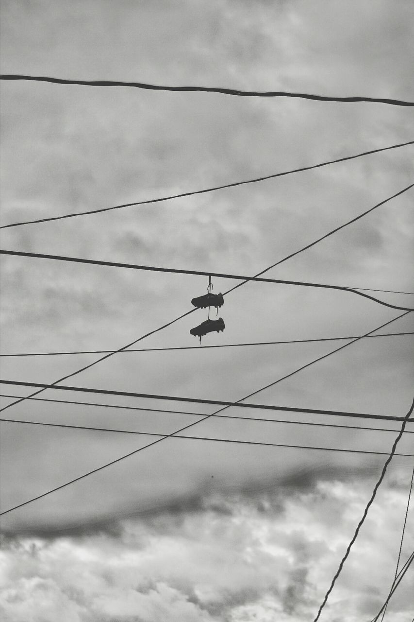 low angle view, sky, cable, cloud - sky, transportation, mid-air, flying, mode of transport, outdoors, day, nature, no people