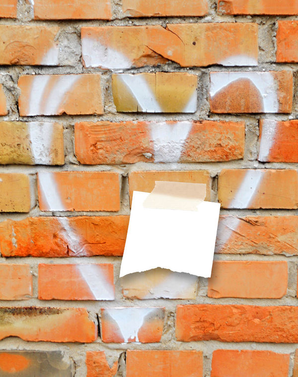 Single piece of paper with tape on weathered brick wall background Art Brick Wall Background Communication Graffiti Wall Heart Love Love Messages Orange Post-it Love Postit Ripped Romantic Scotch Tape Single Piece Of Paper Spray Paint Text Torn Weathered Wall White Yellow