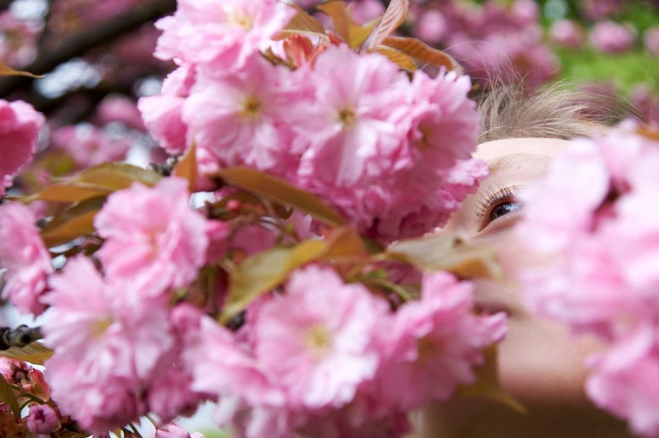 Found some beautiful protection during a cold and rainy day. Beauty In Nature Beauty In Nature Blossoms  Close-up Day Dreaming Eye EyeEm Nature Lover Hidden Nature One Person People Pink Pink Color Portrait Portrait Photography Spring Has Arrived Springtime Tree