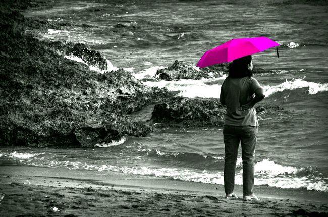 Pink Umbrella Lady Ladyinpink Woman Sea Vitaminsea Ocean Coral Rock Blackandwhite B&wphotography Monochrome Travel Launion Philippinebeach Showcase:January Followfriday Waves