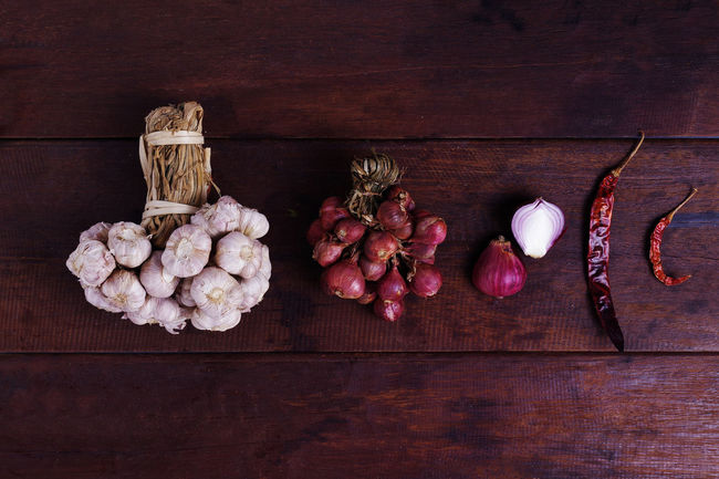 Abundance Arrangement Basket Close-up Decoration Food Freshness Garlic Garlic Group Of Objects Large Group Of Objects No People Organic Raw Food Red Red Chili Pepper Red Onion Spice Spices Still Life Variation Wood Wood - Material Wooden