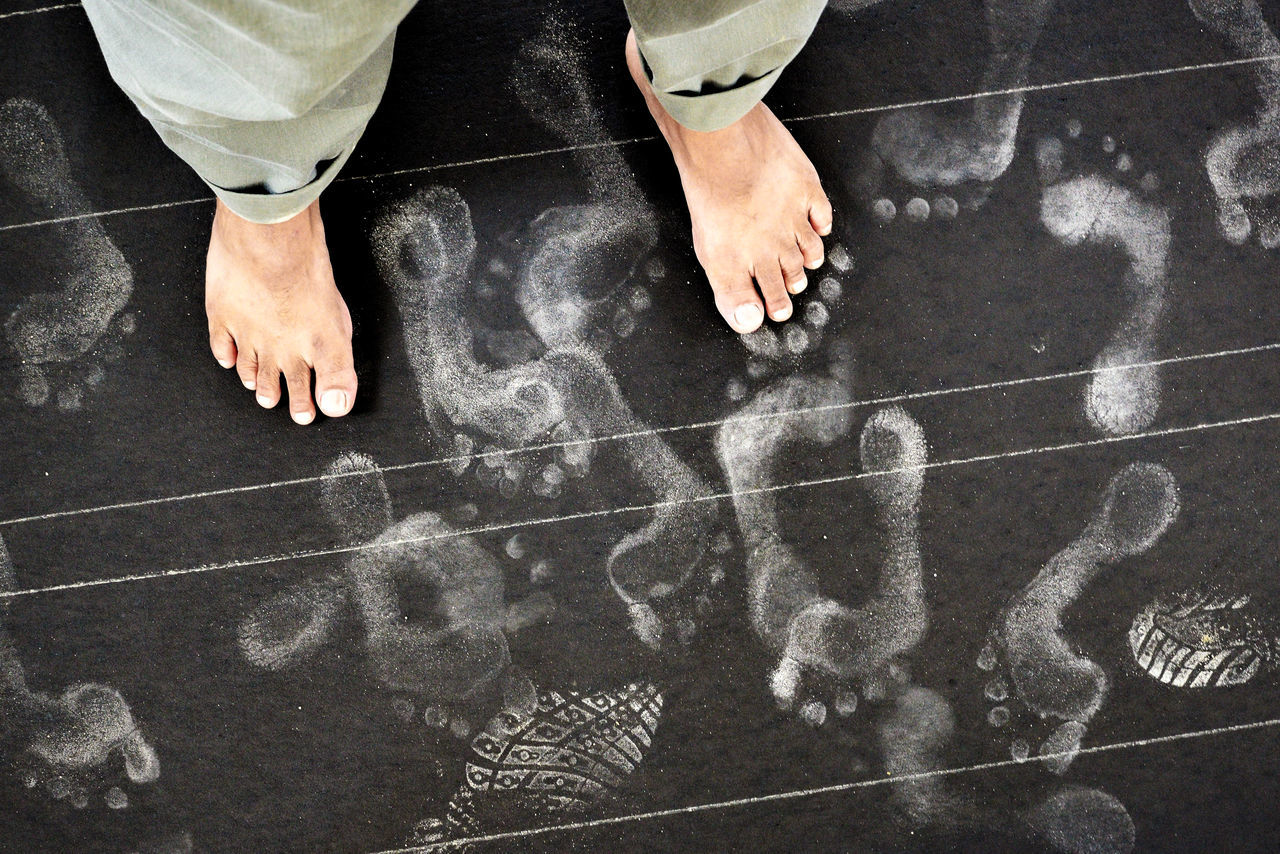 Footprints Symphony Abstract Background Black Background Blackboard  Close-up Conceptual Footprints Human Body Part Human Feet Indoors  Low Section One Person Print