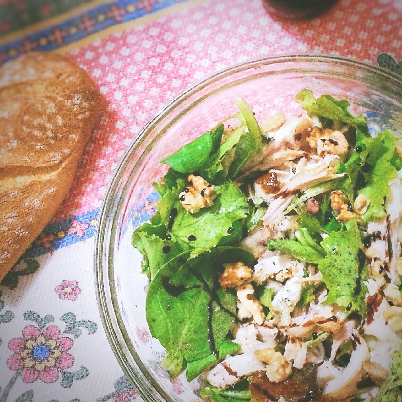 High Angle View Of Salad With Chicken And Gorgonzola In Bowl
