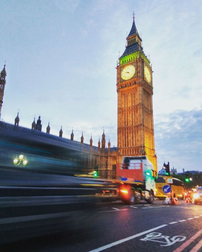 Architecture Big Ben Blurred Motion Building Exterior Built Structure Car City City Life Clock Tower Dusk Famous Place Houses Of Parliament Illuminated International Landmark Motion On The Move Road Speed Street Tourism Tower Traffic Transportation Travel Travel Destinations